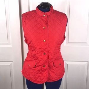 Mary McFadden 2X deep coral quilted vest